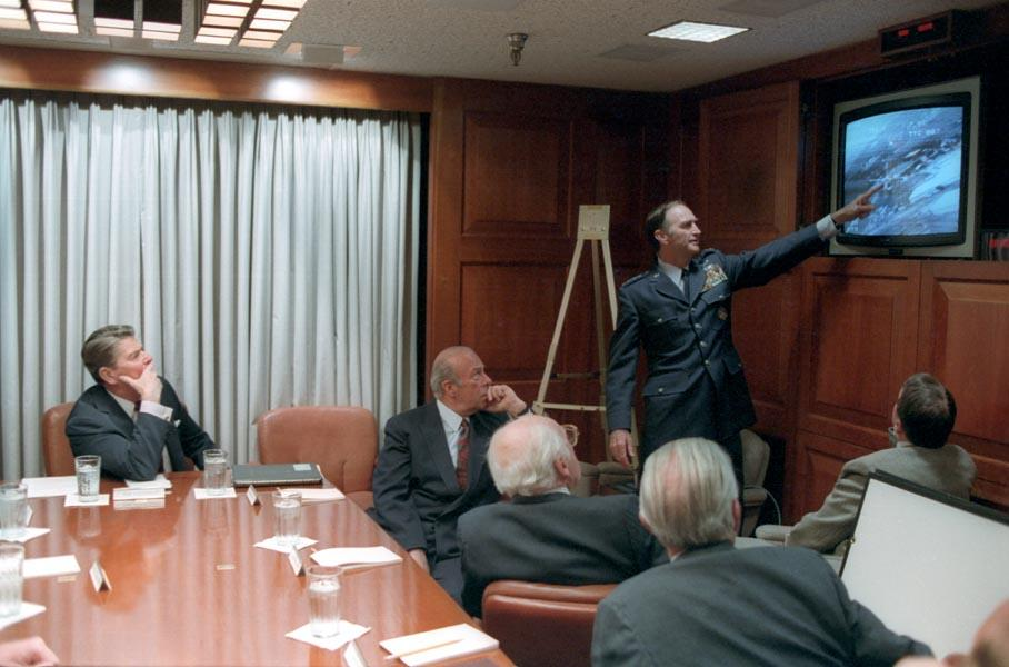President Ronald Reagan in the Situation Room